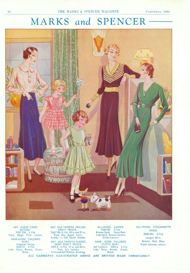 Advert showing an interior scene with three women and two little girls all wearing read- to-wear clothes