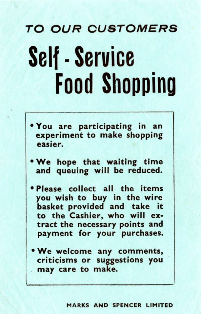 A blue leaflet explaining to customers how the new way of shopping will work