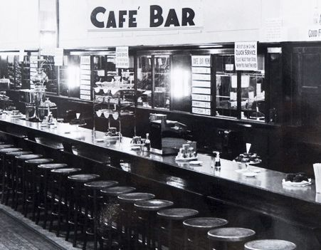 Photo of a long bar with a row of stools beside it
