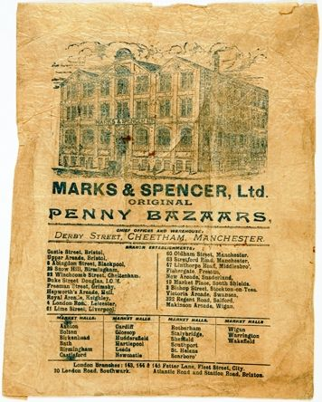 M&S paper bag with an illustration of their head office and a list of stores in the country