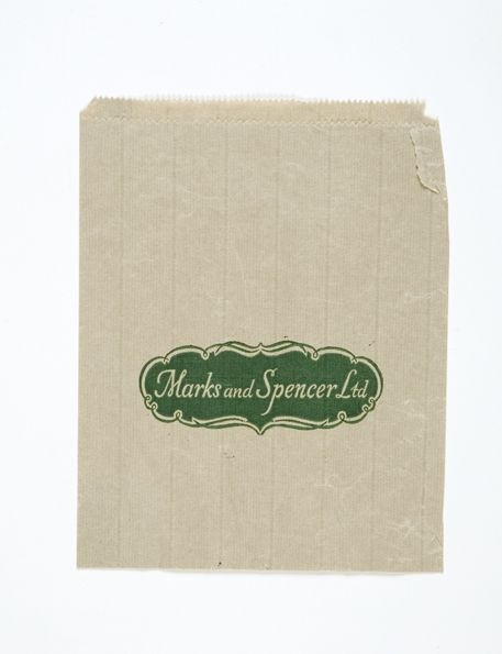 White paper bag with simple green M&S logo