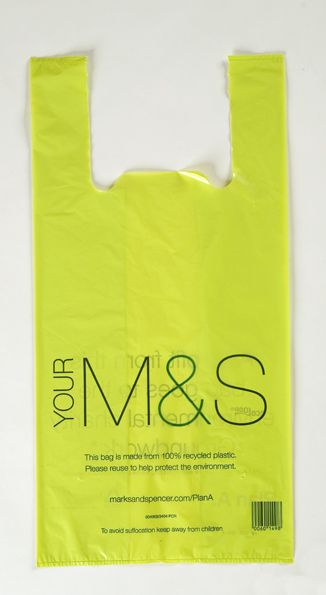 Green plastic bag with 'Your' M&S logo