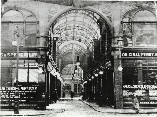 Leeds Cross Arcade 1909 showing M&S Penny Bazaar