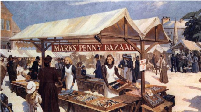 Leeds Market, by Van Jones 1955, oil painting, showing one of the early Penny Bazaar stalls in the 1880s