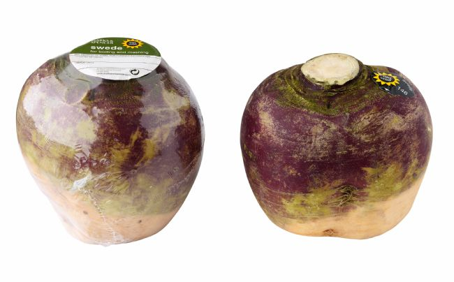 Two M&S swedes, to illustrate reduced packaging