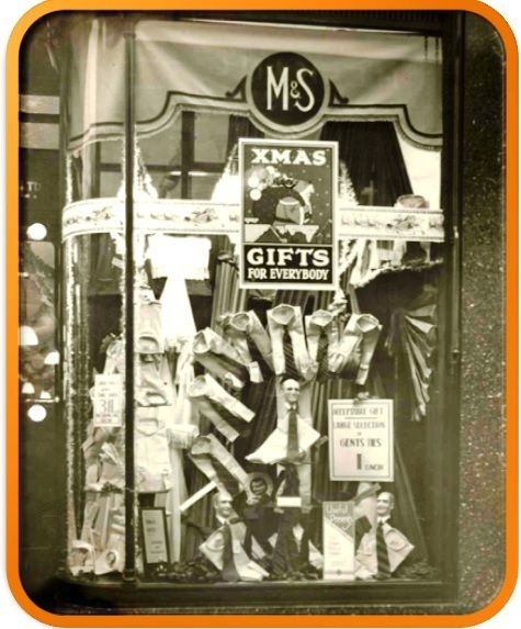 1930s M&S Shop window display with shirts and ties in sets