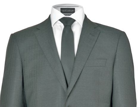 Smartly tailored grey suit with white shirt and grey tie