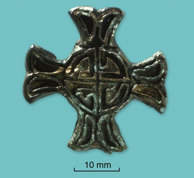 Anglian cross brooch in copper alloy and enamel