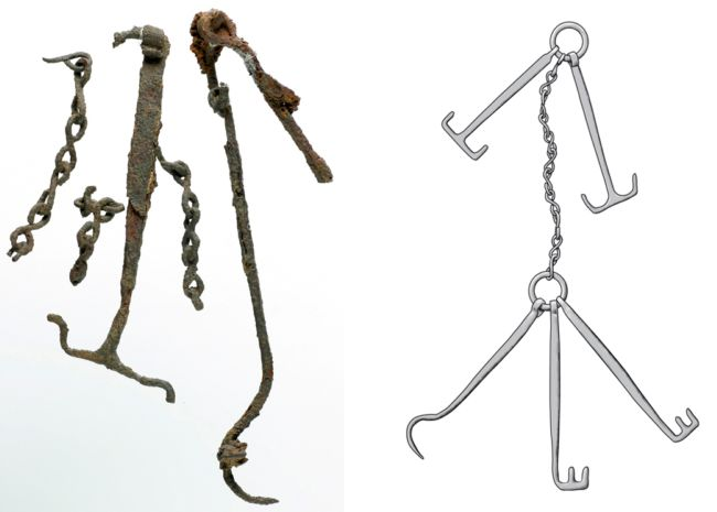 Excavated chatelaine and modern reconstruction