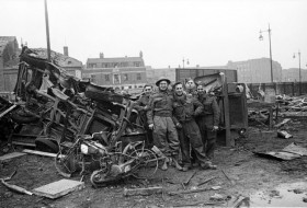 Rescue workers at Ferensway bombsite, Hull