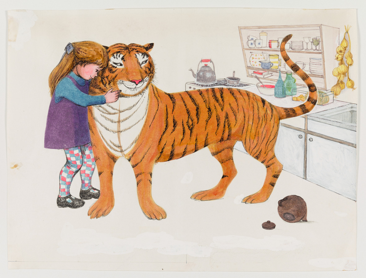 A hand drawn and coloured showing a young girl and her mother sitting at the kitchen table with a tiger. The tiger is drinking tea from the teapot.