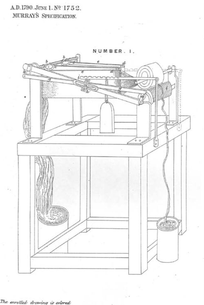 Line drawing of a patent diagram showing unspun yarn going in one side and spun yarn coming out the other.