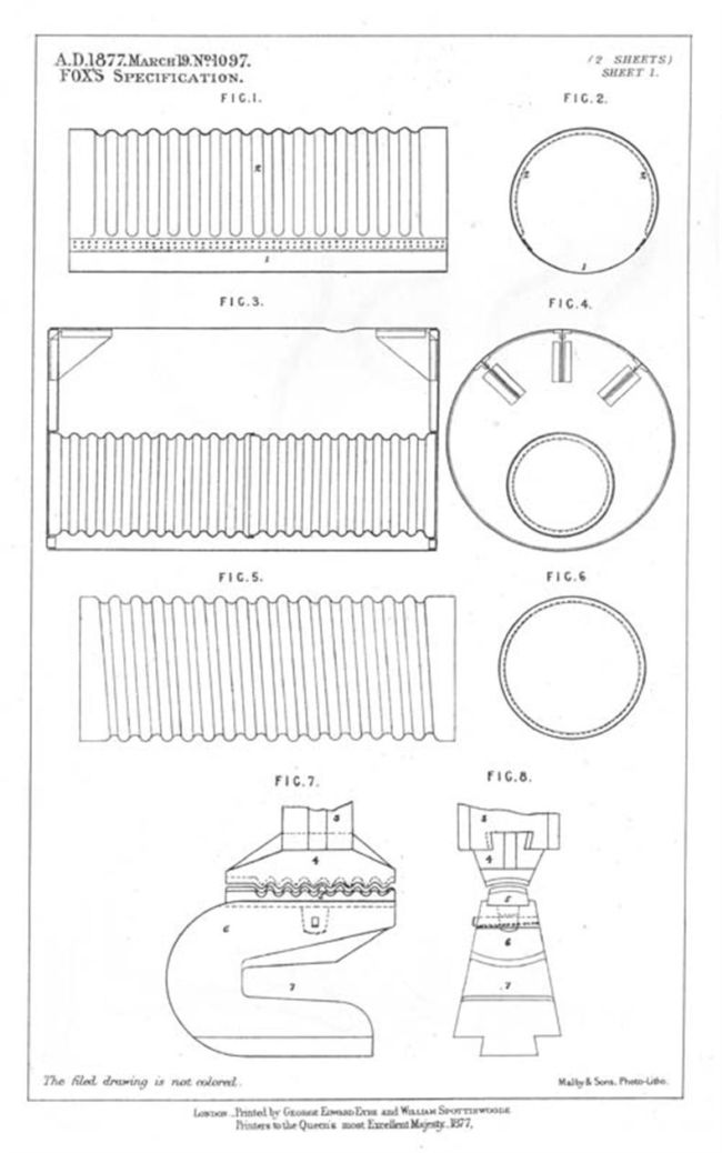 Patent drawing showing simple line drawings of a corrugated flue.