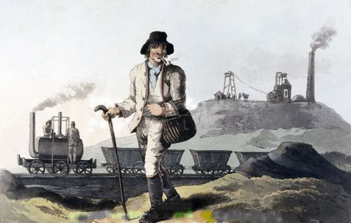 This illustration shows an engine thought to be the Salamanca, travelling on its way to Leeds.  It is pulling multiple wagons.  In the foreground is a figure wearing a hat, smoking a pipe and carrying a bag.  He looks to be walking through the landscape.