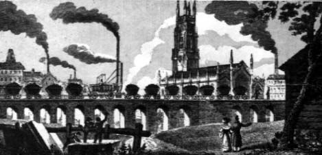 Illustration showing the Middleton railway line with a string of  filled carriges going over a viaduct.  In teh back ground is Leeds Minster and five tall, smoking chimneys.