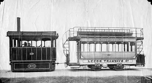 A steam tram engine, with a double-decker carriage with 'Leeds Tramways' painted on the side.