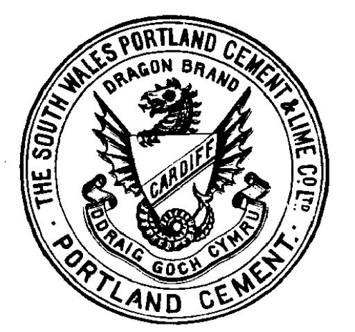 """The trademark shows a dragon in the centre, holding a shield on which is written 'Cardiff'.  Around the outside are the words """"The South Wales Portland Cement and Lime Co Ltd""""."""