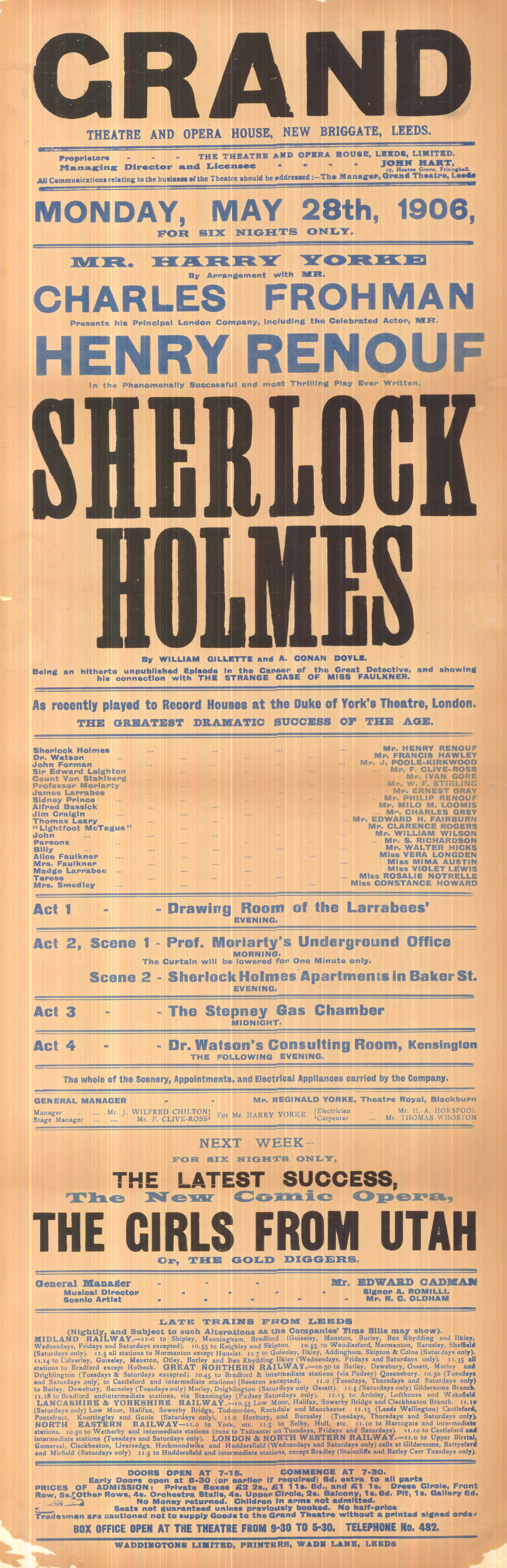 Grand Theatre playbill advertising a new Sherlock Holmes play.