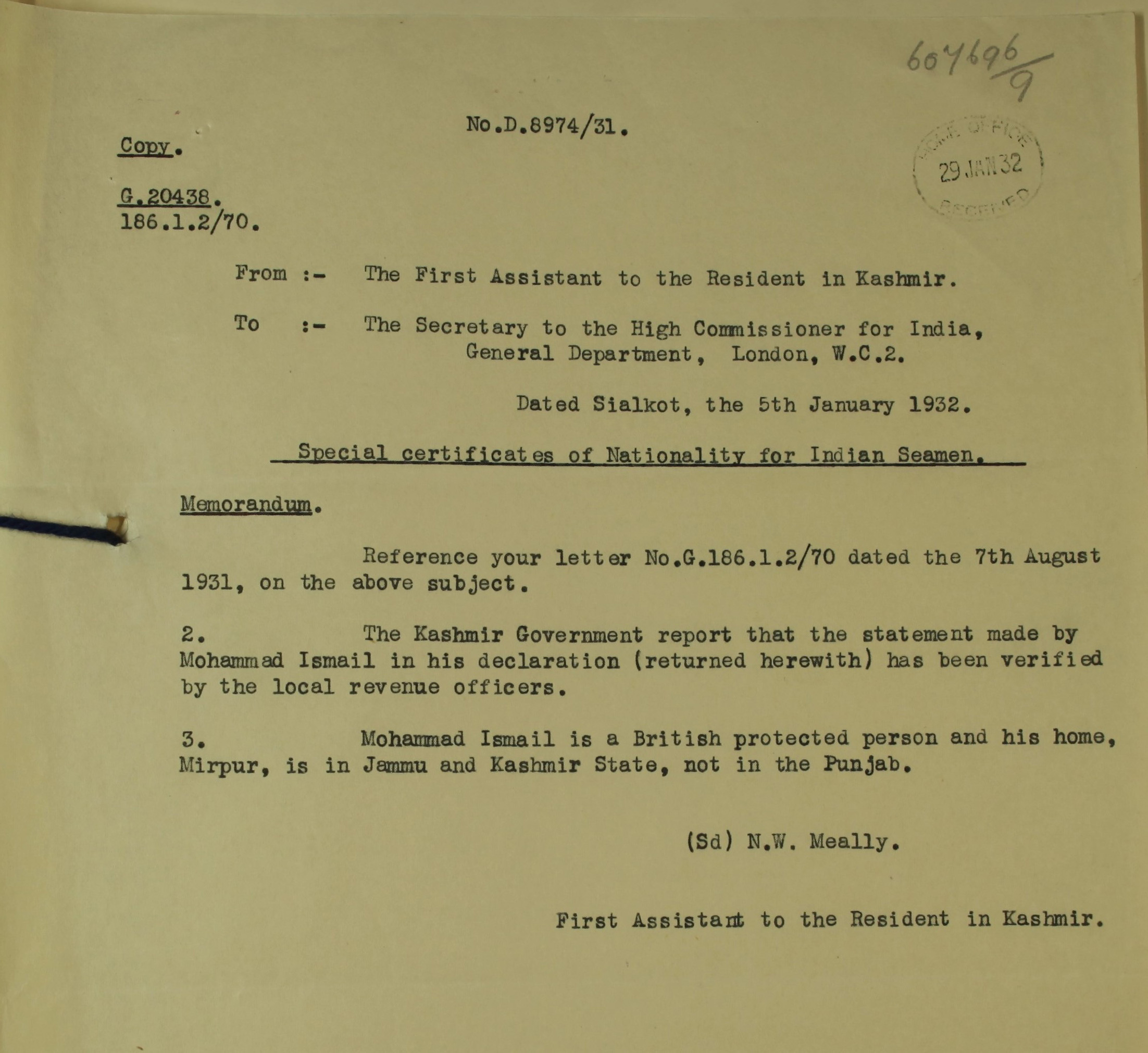 Photograph of  a typed document.