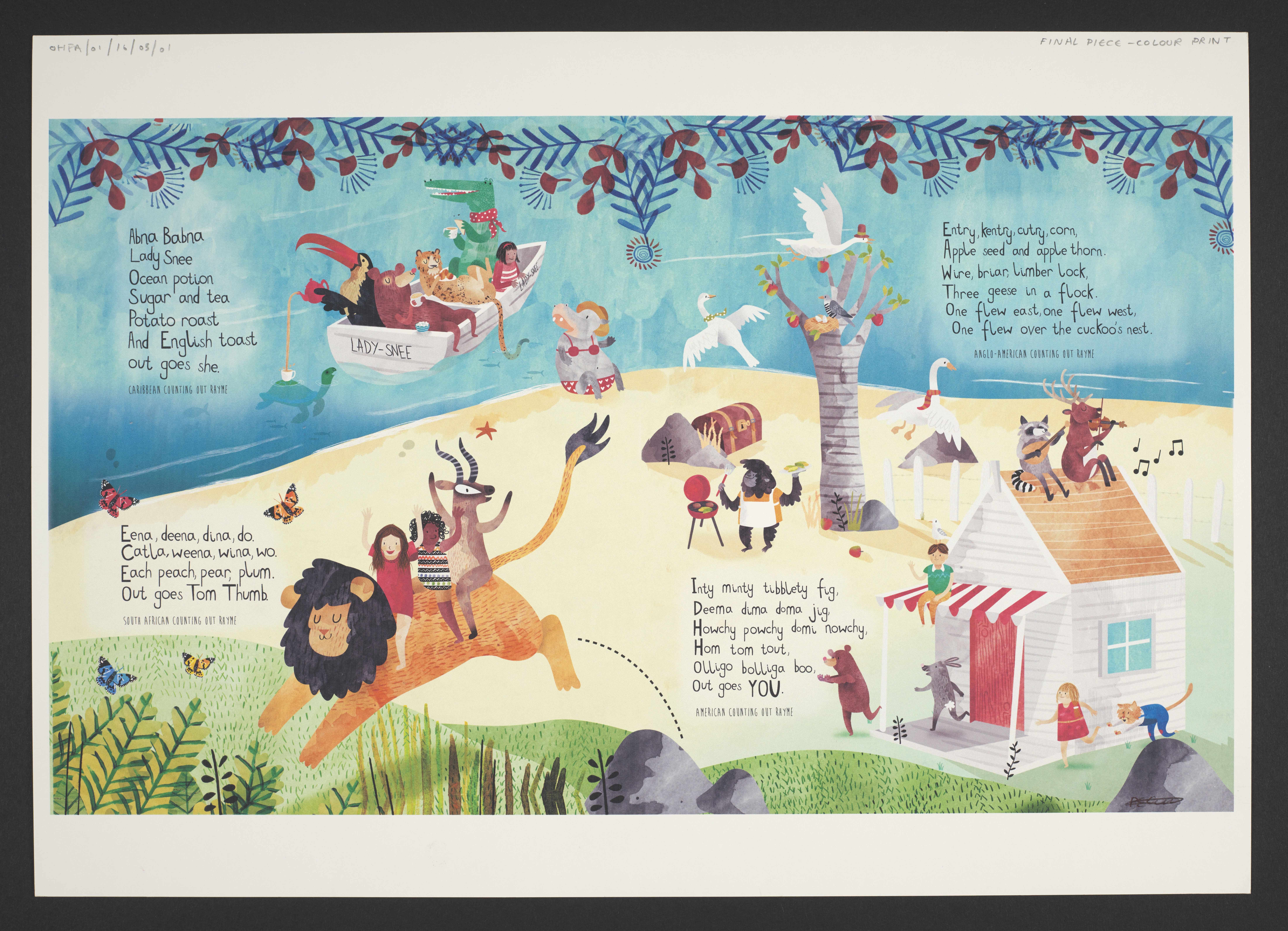 Double page spread showing counting rhymes from different countries and illustrations of children and animals.