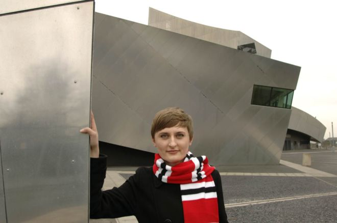 Young Polish woman outside the Imperial War Museum, Manchester