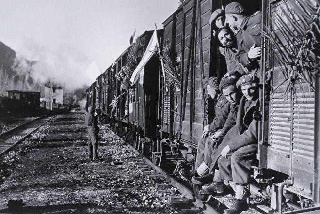Polish soldiers on a train returning to Poland after WWII