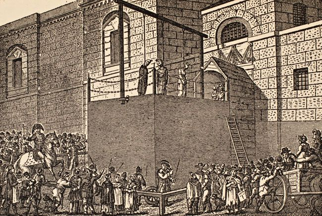 Black and white drawing showing a crowd of people gathered below a stage.  On the stage are three people hanging by their necks