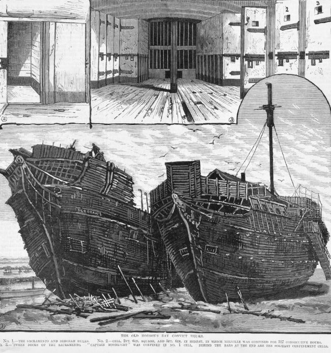 Drawing of two convict hulks moored off the Australian shore
