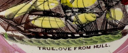Detail of the image depicting Hull's last whaling ship entitled the 'Truelove' found on the ceramic jug that belonged to the ship exhibited at HMM.  � Hull Museums