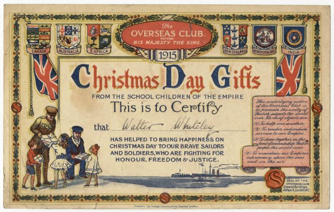 Colourful certificate sent to children by the Overseas Club in WW1.    The certificate includes two Union Jacks and numerous coats of arms.