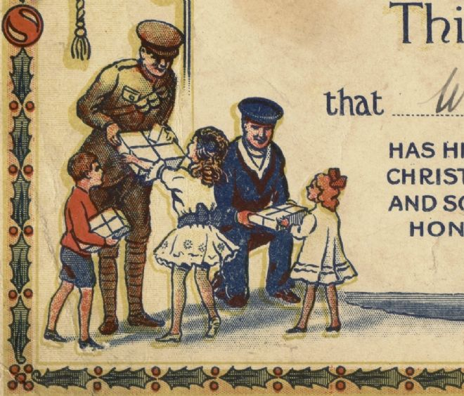 Detail from WW1 Overseas Club certificate showing children giving presents to servicemen