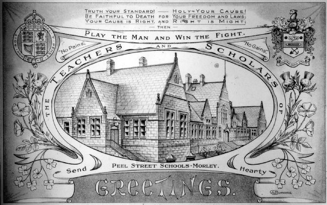 First World War postcard with an illustration of Peel Street Board School in Morley, Leeds, sending greetings to the soldiers