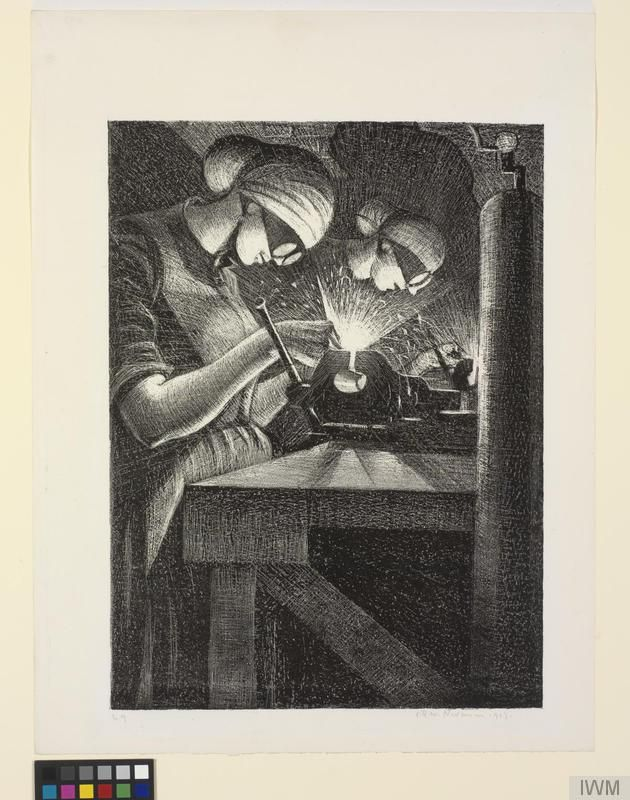 Illustration showing two women welding .  They are wearing head coverings and goggles.