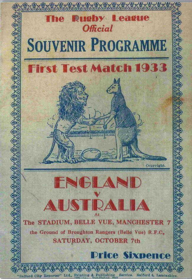 Full image of a 1933 test match souvenir programme showing English lion and Australian kangaroo.