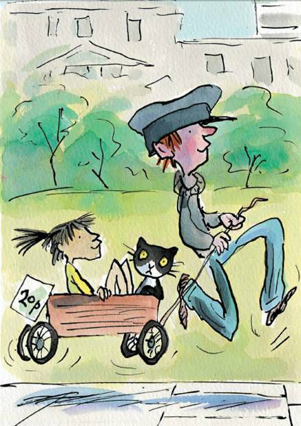 Illustration by Tony Ross of a boy pulling a trailer with a girl and a cat