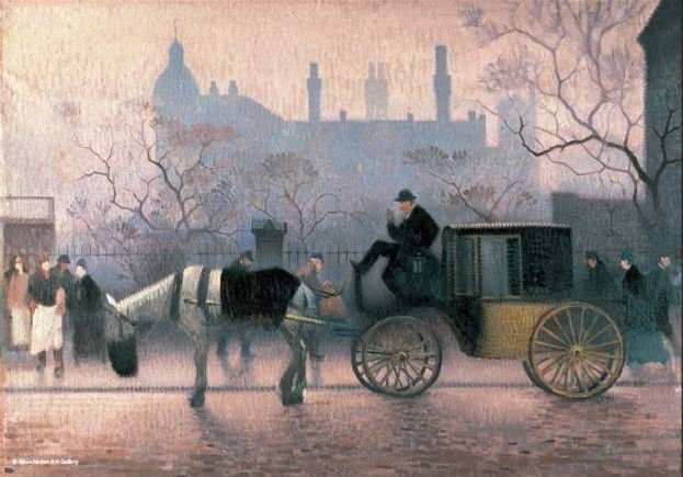 Horse and Cab in a misty city landscape.  The horse has a nosebag on and there are many people on the pavement walking by or standing.