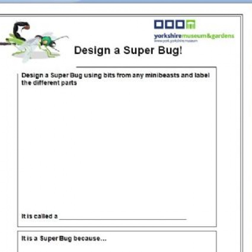 Draw Your Own Super Bug - blank template (Word)