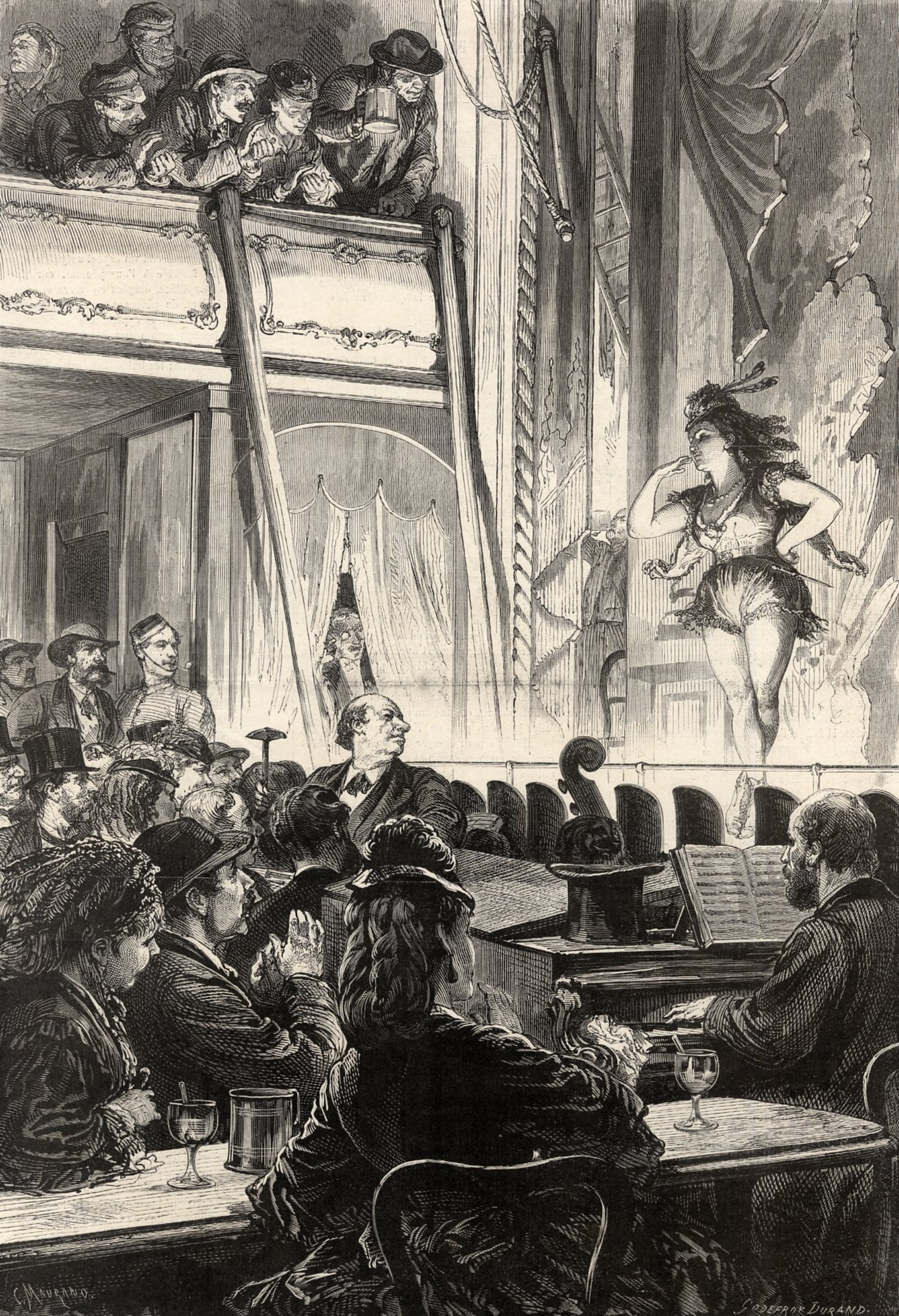 A drawing showing a soman on stage wearing shorts and a sleeveless top .  Men are leaning over from the balcony to watch.  In the foreground men and women watch the performance and a piano player accompanies the woman on stage.