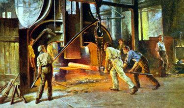 An Illustration of Sheffield steelworkers showing three workers with a large steel pole