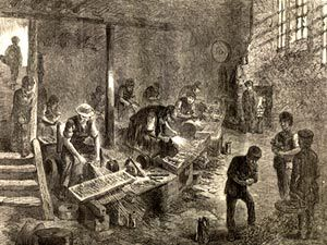Black and white illustration of a Victorian grinders workshop showing adults and children working