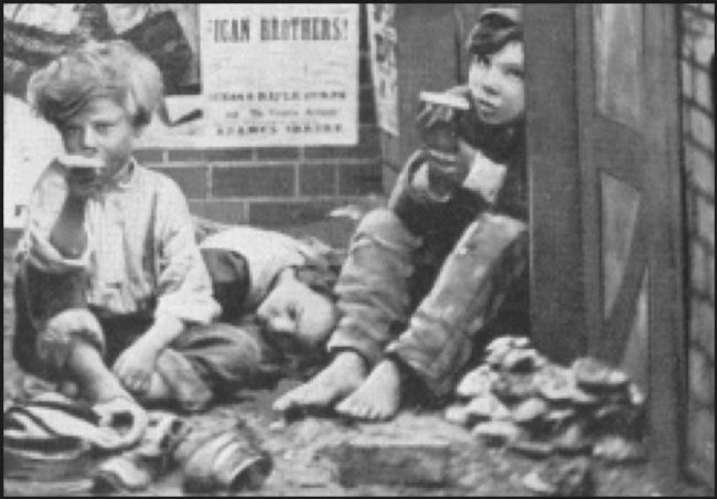 Two Victorian children eating