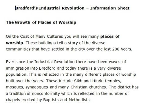 Places of Worship information sheet
