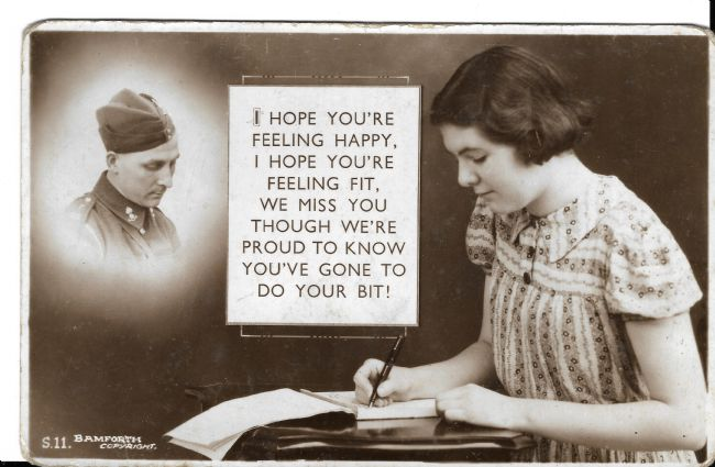 Postcard imagining a woman writing to a soldier, perhaps her brother, boyfriend or husband who is pictured  in the top left corner