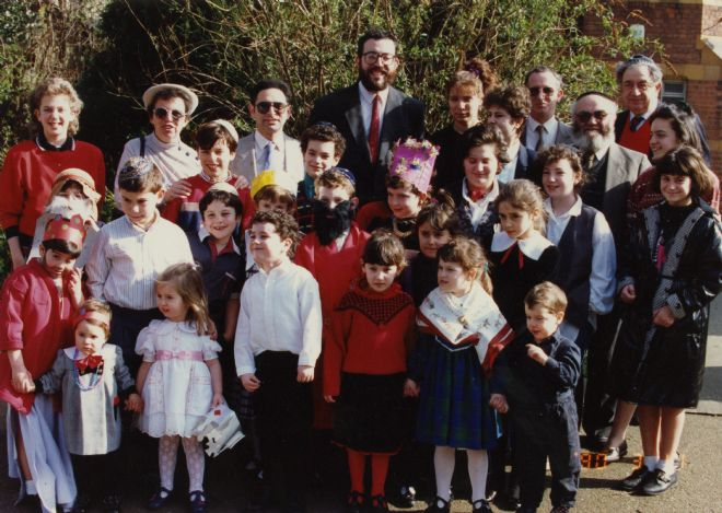 Colour photograph showing a group of pupils and teachers from Hull Hebrew Communal School