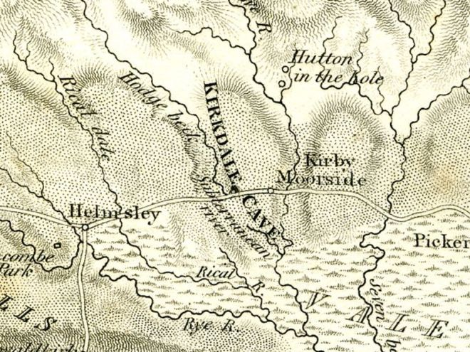 Map showing location of the Kirkdale Cave
