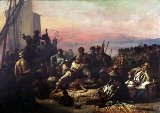 Oil painting: Scene on the Coast of Africa showing traders selling people to crew of a slave ship