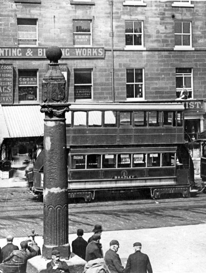 Trolleybus on  Market Place, Huddersfield