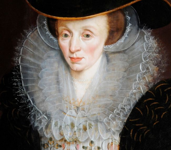 Detail of a Ruff from a Portrait of Lady Bennet.  The ruff is very wide and many layered.