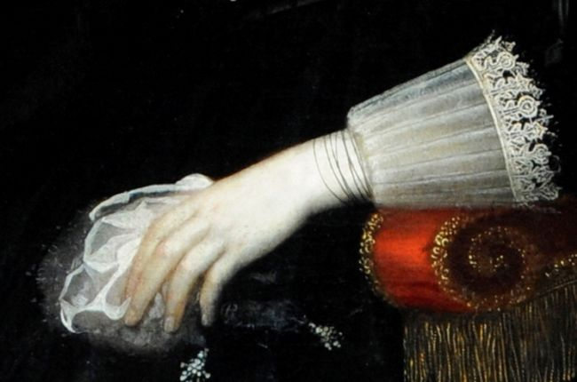 Detail of the Sweet Purse taken from a portrait of Lady Bennet