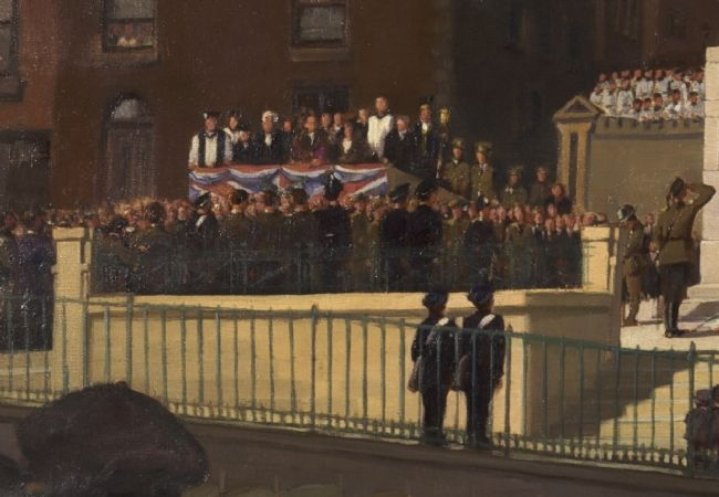 Painting showing a crowd and group of officials and churchmen standing on a platform covered with a Union Jack flag